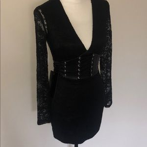"""New bebe 00 lace and """"leather"""" corset  dress."""